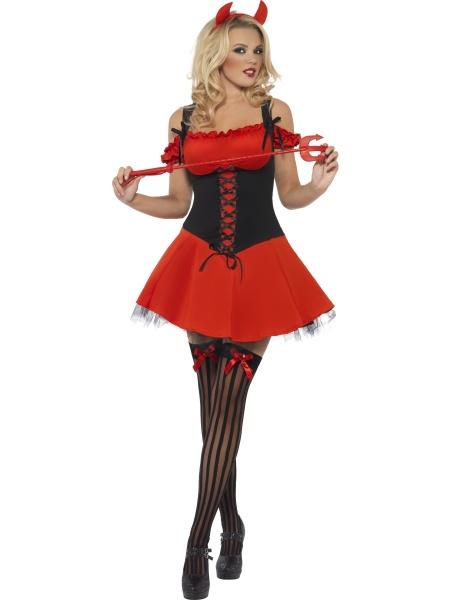 1ee2e9d61 Kostým Zlé Ďáblice je červený a zahrnuje šaty a čertovské rohy.