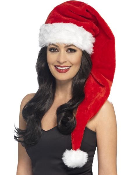 1c621c0a4 Dlouhá červená Santova čepice s bílým lemem a bambulí doladí Váš vánoční  kostým.