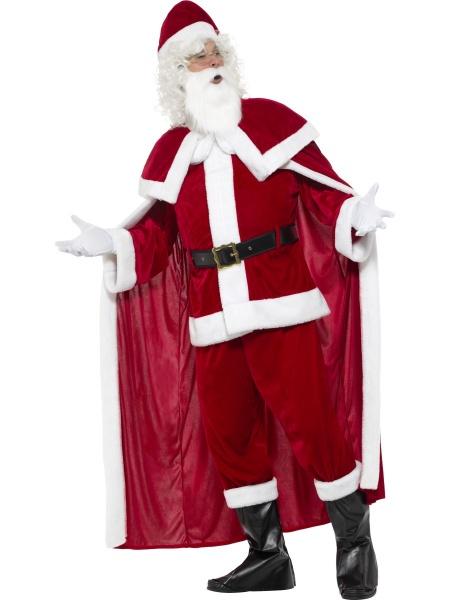3774809e3 Luxusní plyšový kostým Santy tvoří kalhoty, halena, pásek, plášť, návleky  na boty, rukavice, čepice a plnovous.